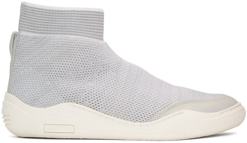 Lanvin Off White And Grey Knit High Top Sneakers lFuLyx