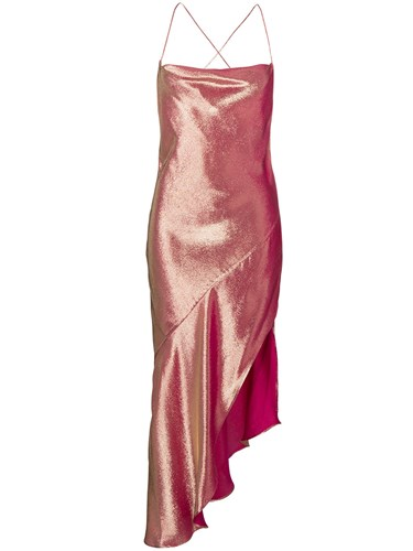 Haney Goldie Asymmetric Dress Silk Polyester Pink Purple XC818pK
