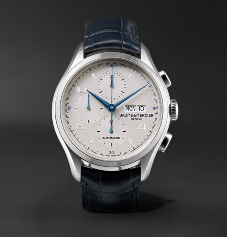 Clifton Automatic Chronograph 43Mm Stainless Steel Alligator Watch Navy