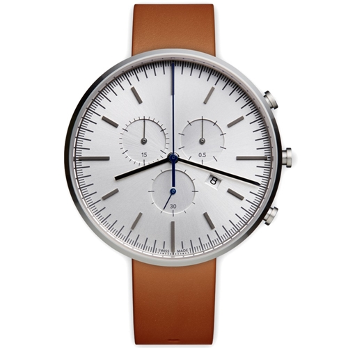 M42 Chronograph Wristwatch Polished Steel And Tan Leather