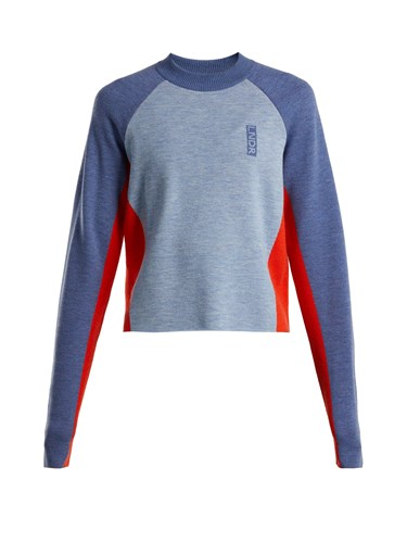 Contrast Panelled Wool Sweater Blue Multi