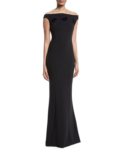 La Petite Robe di Chiara Boni Sissel Off The Shoulder 3D Rosette Gown Black dTHAUhXD