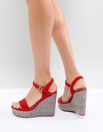 Aldo Two Part Wedge Shoe In Red With Textured Heel qW8kn9