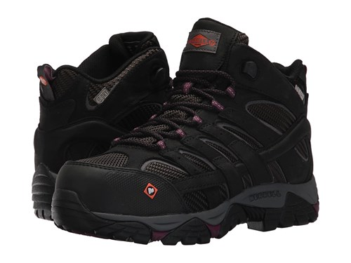Merrell Work Moab 2 Vent Mid Waterproof Ct Black Women's Lace Up Boots zf8W24xr