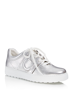 Salvatore Ferragamo Women's Metallic Leather Lace Up Sneakers Argento Silver mORWyUi
