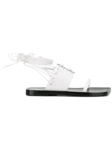 Jil Sander Lace Up Sandals White 2EP7Aa
