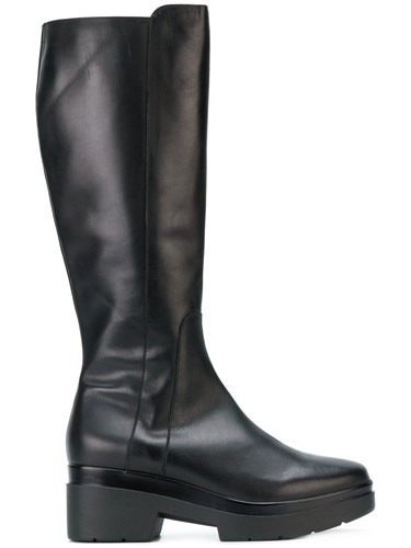 Albano Chunky Zipped Boots Calf Leather Leather Rubber Black tWW44HvfKf