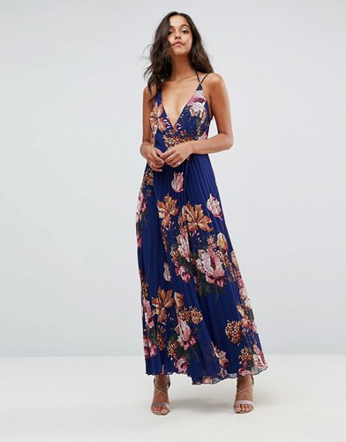 Asos Floral Cami Pleated Maxi Dress Multi ukRYyfW