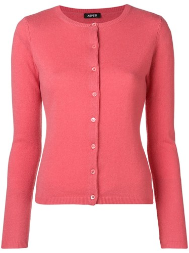 Cashmere Fitted Cardigan Pink And Purple