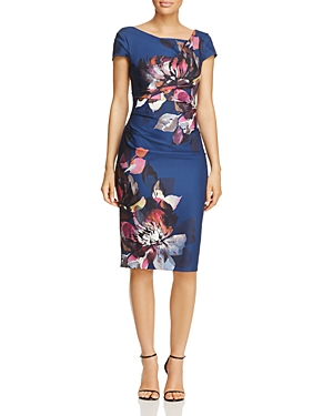 Adrianna Papell Floral Print Sheath Dress Navy Multi rN3ze