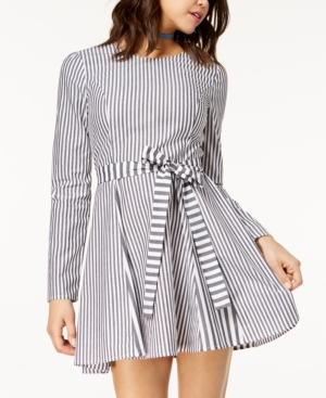 Love, Fire Juniors' Striped Sash Belt Fit And Flare Dress