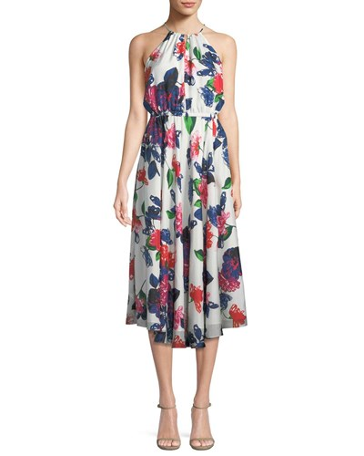 Milly Casey Floral Print Silk Halter Dress Multi Zh2yMx