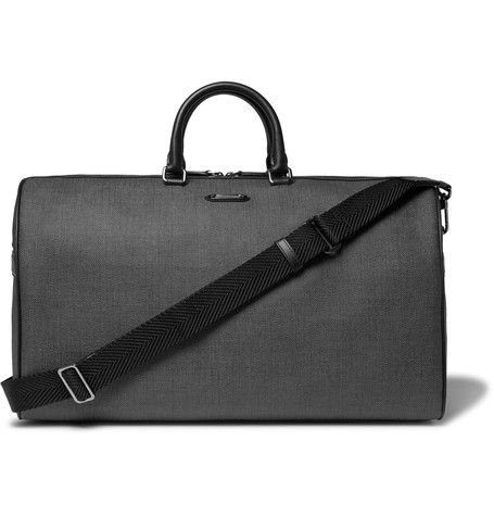 Leather Trimmed Herringbone Coated Canvas Holdall Gray