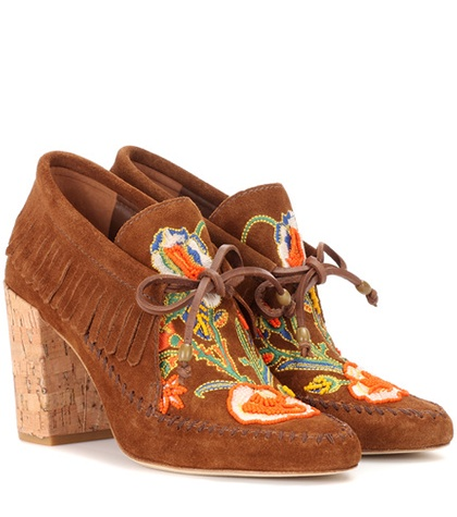 Tory Burch Huntington Fringe Suede Booties Brown fZVoGTPvwi