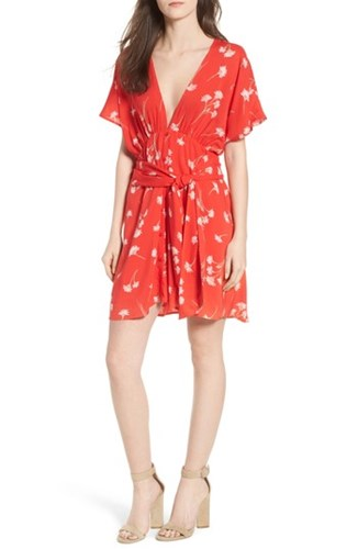 Lush Floral Cutout Back Minidress Red Floral tRywY