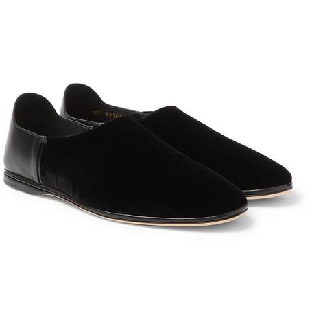 Saint Laurent Collapsible Heel Velvet And Leather Loafers Black zMmbQf