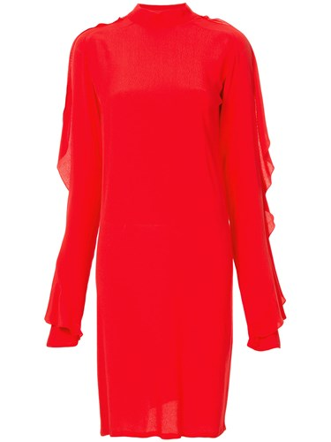 Strateas Carlucci Exposed Orchid Ruffled Sleeve Dress Red w2m2l