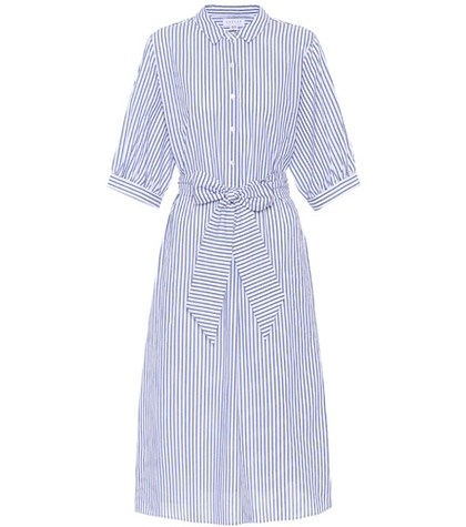 Velvet Penelope Striped Cotton Dress Blue uEaE8