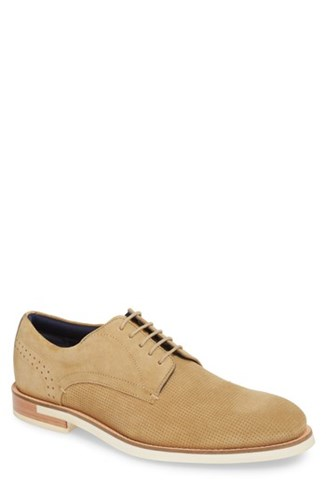 Ted Baker London Lapiin Embossed Plain Toe Derby Sand Suede OVJLHk