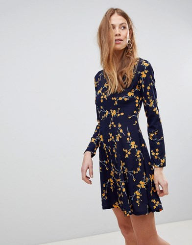 QED London Floral Swing Dress Navy iSsWfP