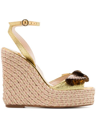 Sophia Webster Metallic Gold And Brown Soleil Lucita 140 Leather VYPjFO