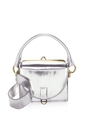 Sacai Silver Leather Satchel TzQqx