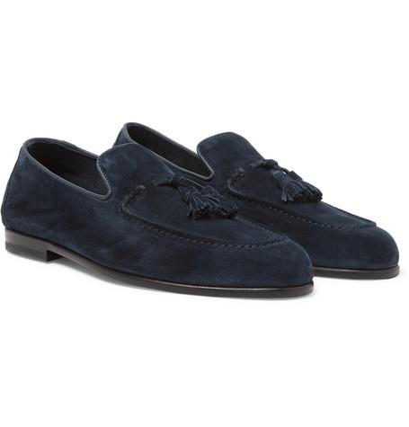 Harry's of London Adrian Suede Tasselled Loafers Navy ougNA0Gs