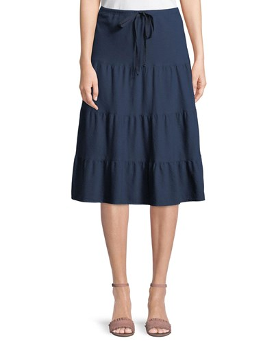 Tiered Jersey Midi Skirt Blue