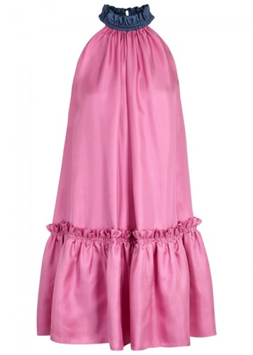 Roksanda Ilincic Elva Two Tone Silk Twill Dress Pink ufkp0Zh