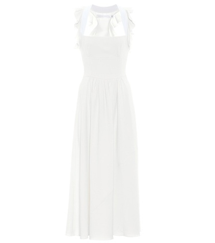 Victoria Beckham Leather Trimmed Crepe Dress White UE95x