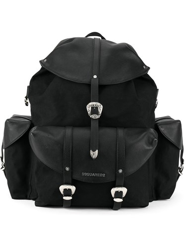 DSquared Dsquared2 Oversized Backpack Cotton Calf Leather Black iWON01evk