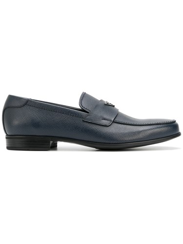 Prada Logo Plaque Loafers Calf Leather Leather Rubber Blue Vn4JS59Z