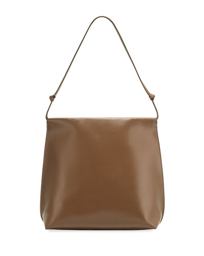 The Row Wander Knotted Leather Shoulder Bag Light Gray pXbEj
