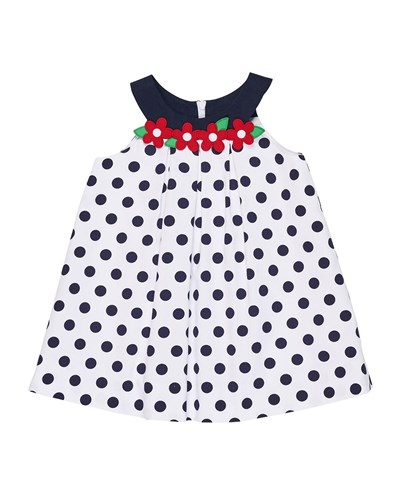 W Navy Dress Pique Polka Dot Flowers Florence Eiseman xwPq0XIwz