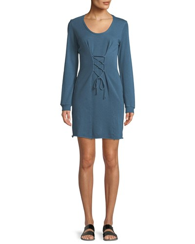 Lanston Corset Long Sleeve Mini Dress Light Blue Ys3yE