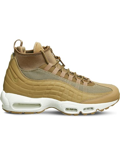 Nike Air Max 95 Sneakerboot Leather And Fabric High Top Trainers Flax White OmNVvOC