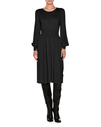 Agnona Knit Bell Sleeve Merino Wool Dress Black wP7jFWAoR