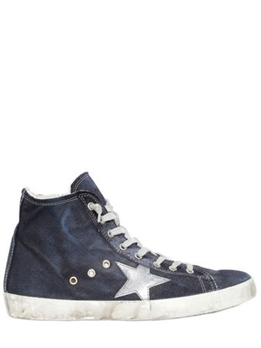 Golden Goose Francy Washed Denim High Top Sneakers 1kczkV