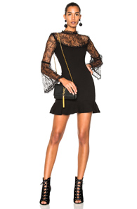In Crepe Black Mini Flounce Dress Nicholas wHqURSR