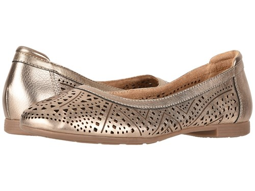 Earth Royale Champagne Metallic Leather Shoes Beige oUasy