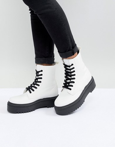 Asos Design Attitude Chunky Lace Up Boots White 5UwqV0jW