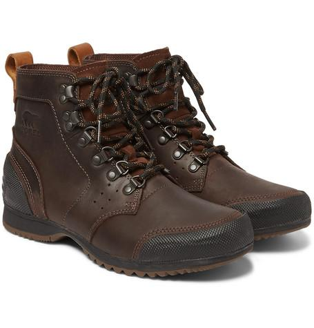 Sorel Ankeny Waterproof Leather And Rubber Boots Brown sLe2zlPY