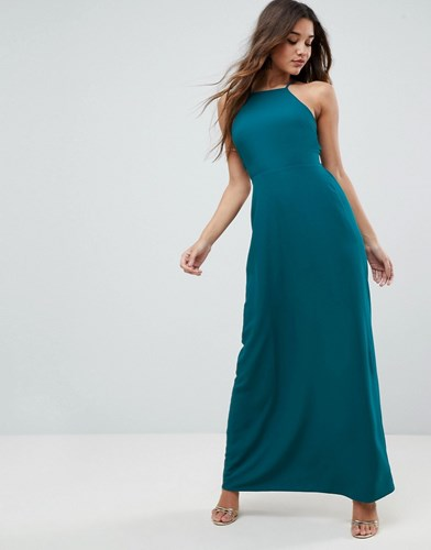 Asos Tie Back Maxi Dress Teal Green k8euMct20