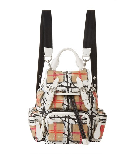 Burberry Small Scribble Vintage Check Backpack White THdPs