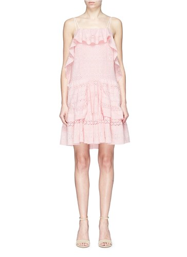 Needle & Thread Ruffle Broderie Anglaise Dress Pink Lihqg