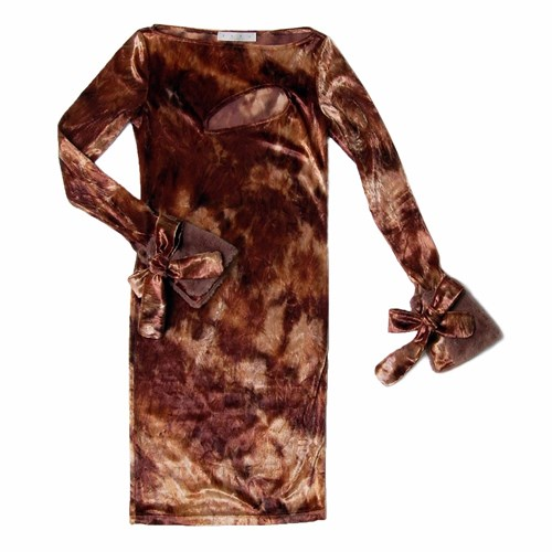 SAKU New York Fur Cuffs Velvet Dress Brown Oz85ZRwhx4