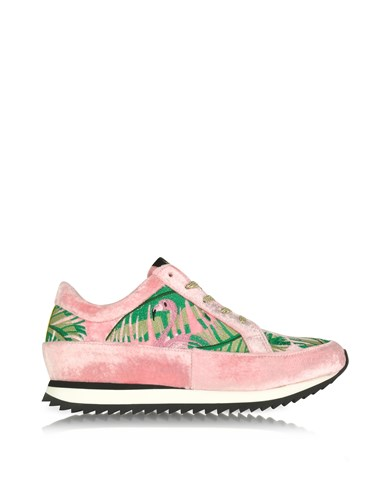 Charlotte Olympia Shoes Work It Flamingo Pink Velvet Lace Up Sneakers ZQUTuzTfCG