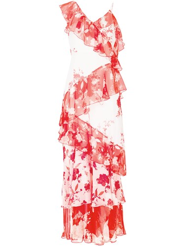 Alice + Olivia Floral Print Ruffled Maxi Dress Red p62hLcTAs