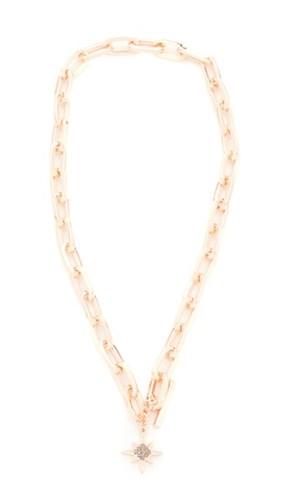 Signature Link Star Charm Necklace Rose Gold