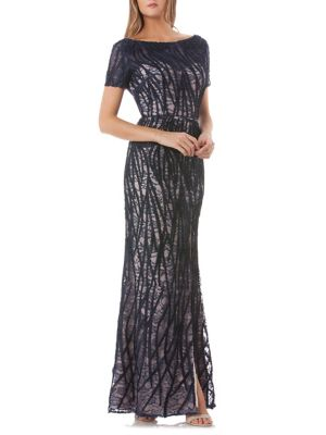 JS Collections Embroidered Lace Gown Navy Nude WoakA90mo1